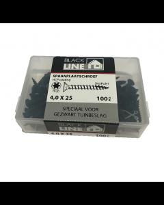 Blackline spaanplaatschroeven 4x25 tx20 100stuks