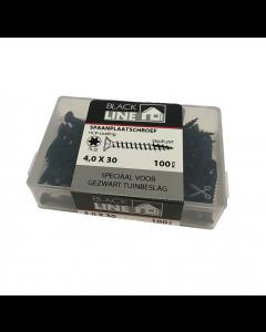 Blackline spaanplaatschroeven 4x30 tx20 100stuks