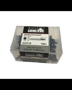 Blackline spaanplaatschroeven 4x35 tx20 100stuks